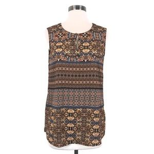 CREMIEUX Yellow Patterned Sleeveless Tank Blouse